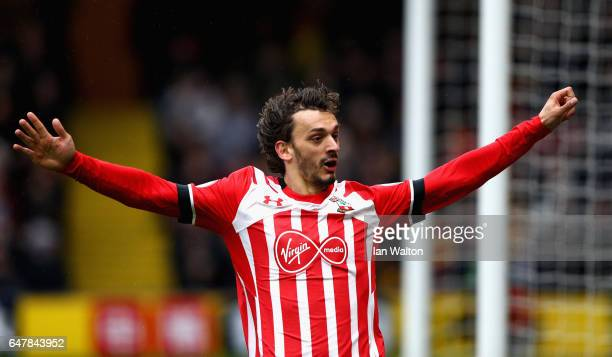 Manolo Gabbiadini of Southampton celebrates scoring his fourth goal during the Premier League match between Watford and Southampton at Vicarage Road...