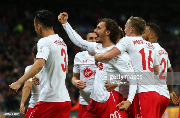 Manolo Gabbiadini of Southampton celebrates with team mates as he scores their second goal during the EFL Cup Final match between Manchester United...
