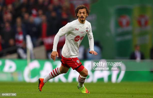 Manolo Gabbiadini of Southampton during the EFL Cup Final match between Manchester United and Southampton at Wembley Stadium on February 26 2017 in...