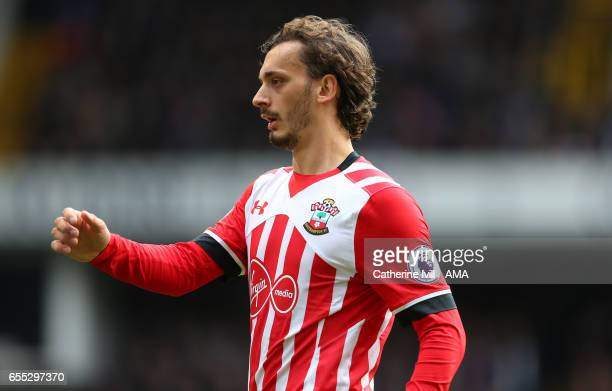 Manolo Gabbiadini of Southampton during the Premier League match between Tottenham Hotspur and Southampton at White Hart Lane on March 19 2017 in...