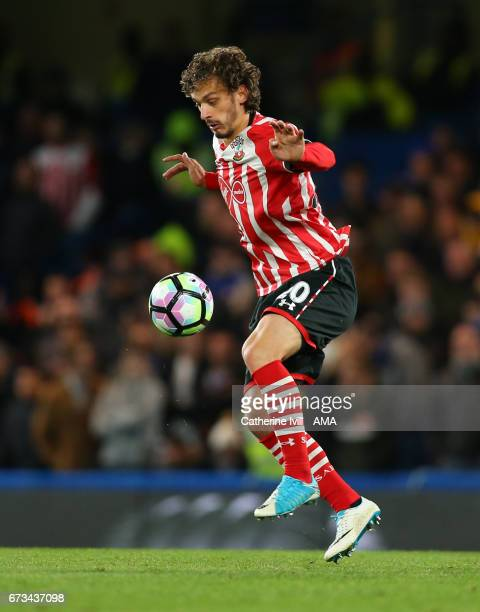 Manolo Gabbiadini of Southampton during the Premier League match between Chelsea and Southampton at Stamford Bridge on April 25 2017 in London England