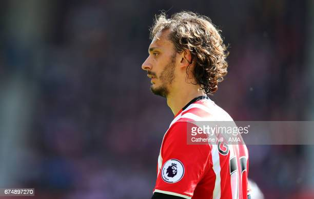 Manolo Gabbiadini of Southampton during the Premier League match between Southampton and Hull City at St Mary's Stadium on April 29 2017 in...