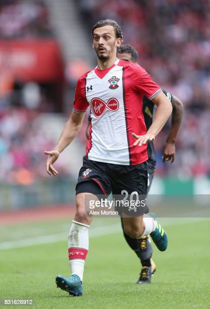 Manolo Gabbiadini of Southampton during the Premier League match between Southampton and Swansea City at St Mary's Stadium on August 12 2017 in...