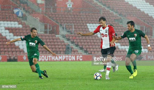 Manolo Gabbiadini of Southampton during the preseason friendly between Southampton FC and Augsburg at St Mary's Stadium on August 2 2017 in...