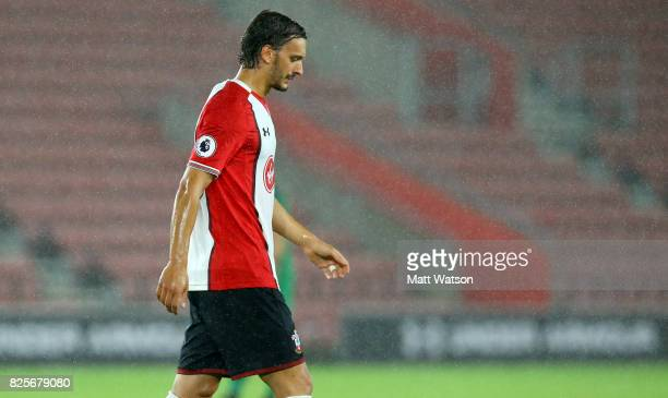 Manolo Gabbiadini of Southampton looks dejected during the preseason friendly between Southampton FC and Augsburg at St Mary's Stadium on August 2...