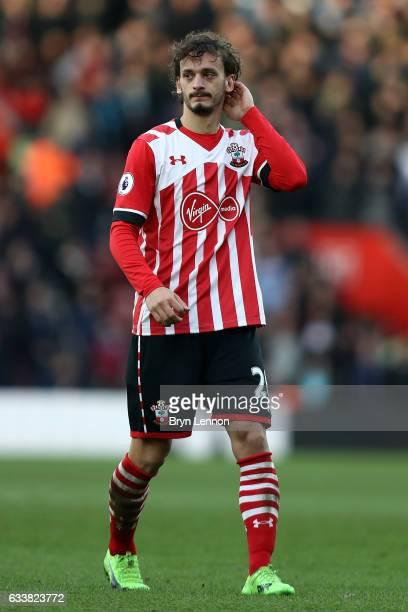 Manolo Gabbiadini of Southampton looks on during the Premier League match between Southampton and West Ham United at St Mary's Stadium on February 4...