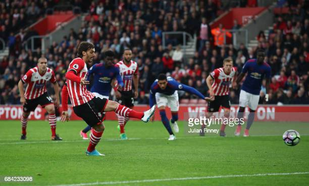 Manolo Gabbiadini of Southampton misses a penalty during the Premier League match between Southampton and Manchester United at St Mary's Stadium on...