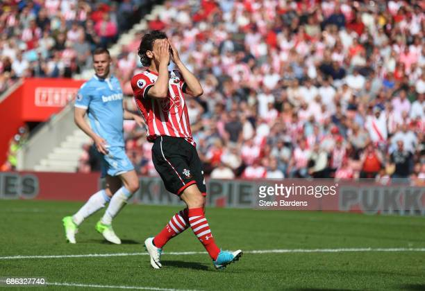 Manolo Gabbiadini of Southampton reacts during the Premier League match between Southampton and Stoke City at St Mary's Stadium on May 21 2017 in...