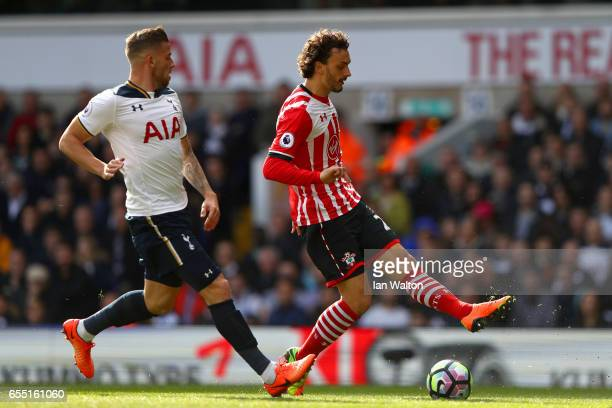 Manolo Gabbiadini of Southampton shoots during the Premier League match between Tottenham Hotspur and Southampton at White Hart Lane on March 19 2017...
