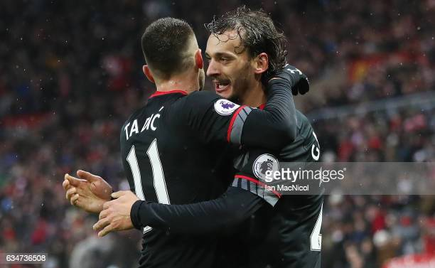 Manolo Gabbiadini of Southhampton celebrates his first goal of the game during the Premier League match between Sunderland and Southampton at Stadium...