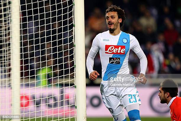 Manolo Gabbiadini of SSC Napoli celebrates after scoring a goal during the Serie A match between ACF Fiorentina and SSC Napoli at Stadio Artemio...