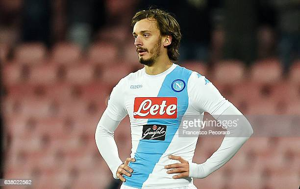 Manolo Gabbiadini of SSC Napoli in action during the Serie A match between SSC Napoli and UC Sampdoria at Stadio San Paolo on January 7 2017 in...