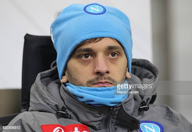 Manolo Gabbiadini of SSC Napoli looks on before the Serie A match between AC Milan and SSC Napoli at Stadio Giuseppe Meazza on January 21 2017 in...