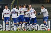 Manolo Gabbiadini of UC Sampdoria celebrates after scoring his team's third goal during the Serie A match between Hellas Verona FC and UC Sampdoria...