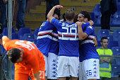 Manolo Gabbiadini of UC Sampdoria celebrates the goal of 10 with his team player during the Serie A match between UC Sampdoria and Atalanta BC at...