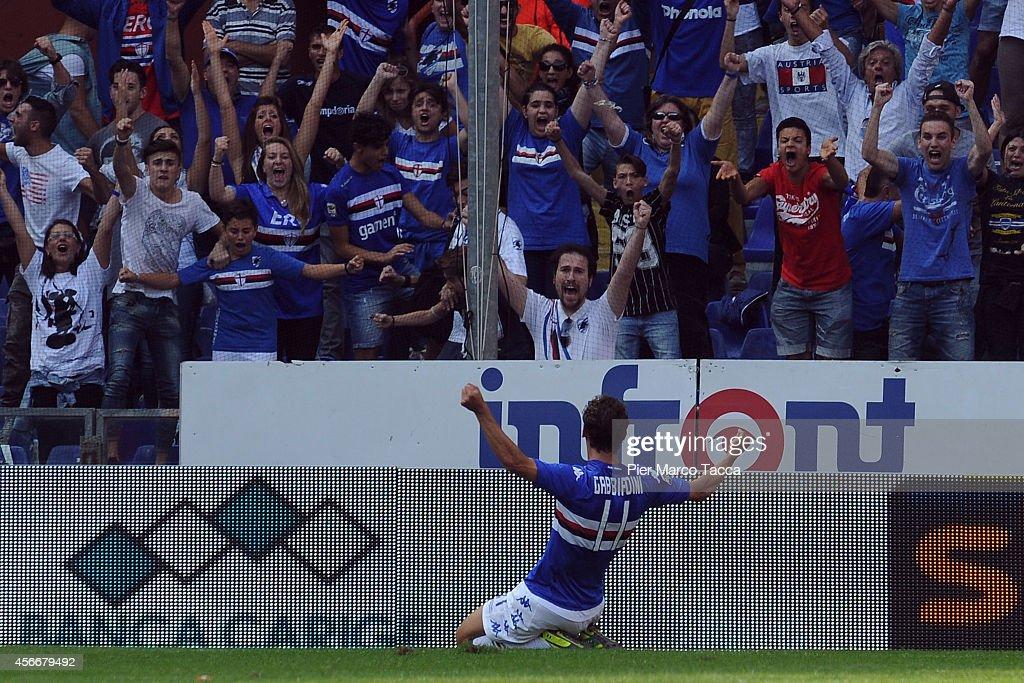 Manolo Gabbiadini of UC Sampdoria celebrating goal in front of his fans during the Serie A match between UC Sampdoria and Atalanta BC at Stadio Luigi...