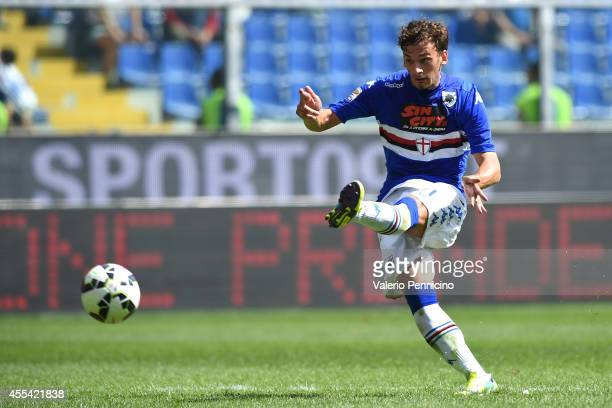 Manolo Gabbiadini of UC Sampdoria scores the opening goal during the Serie A match between UC Sampdoria and Torino FC at Stadio Luigi Ferraris on...