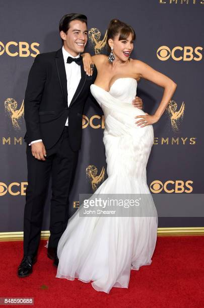 Manolo Gonzalez Vergara and actor Sofia Vergara attend the 69th Annual Primetime Emmy Awards at Microsoft Theater on September 17 2017 in Los Angeles...