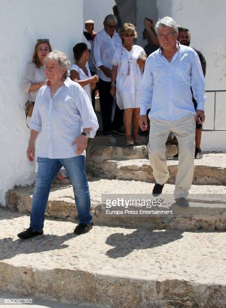 Manolo Nieto and Enrique Cerezo attend the funeral chapel for former motorcycling world champion Angel Nieto at Tanatorio de Ibiza on August 4 2017...