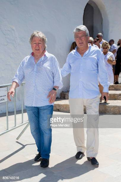 Manolo Nieto and Enrique Cerezo attend the Mass Funeral for Angel Nieto at Parroquia de Santa Eularia on August 5 2017 in Ibiza Spain