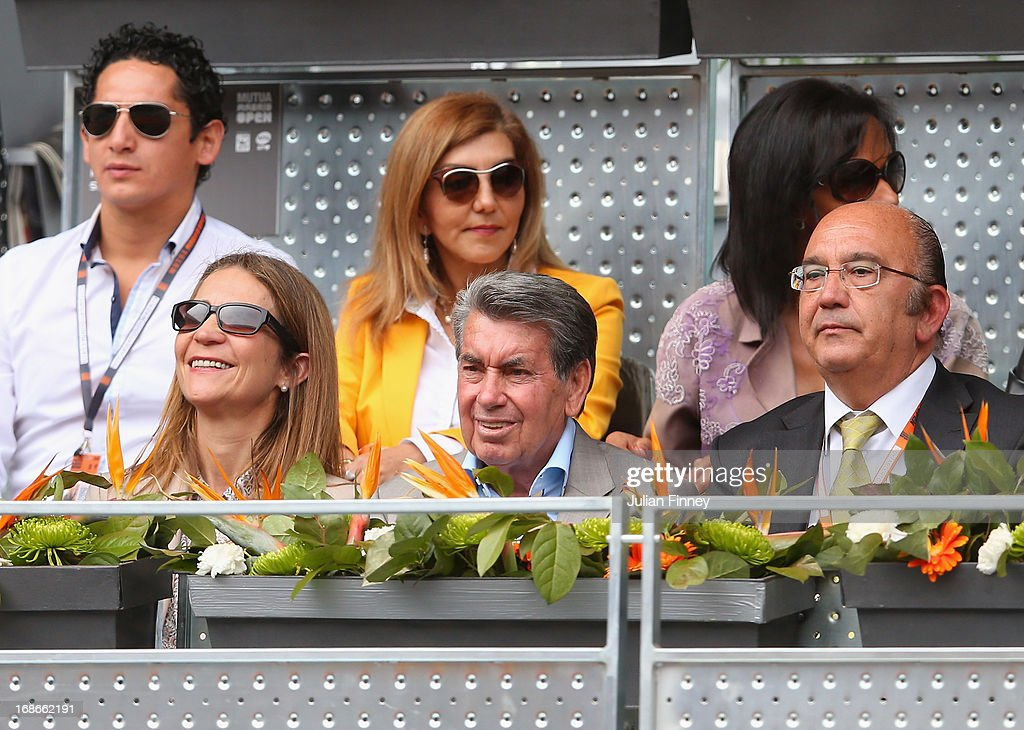 Manolo Santana watches on during day four of the Mutua Madrid Open tennis tournament at the Caja Magica on May 7, 2013 in Madrid, Spain.
