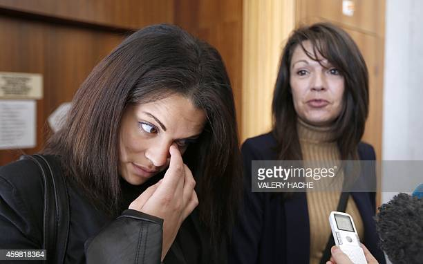 Manon Serrano and her mother Sophie Serrano answer journalists' questions on December 1 2014 at Grasse courthouse after a hearing regarding the 12...