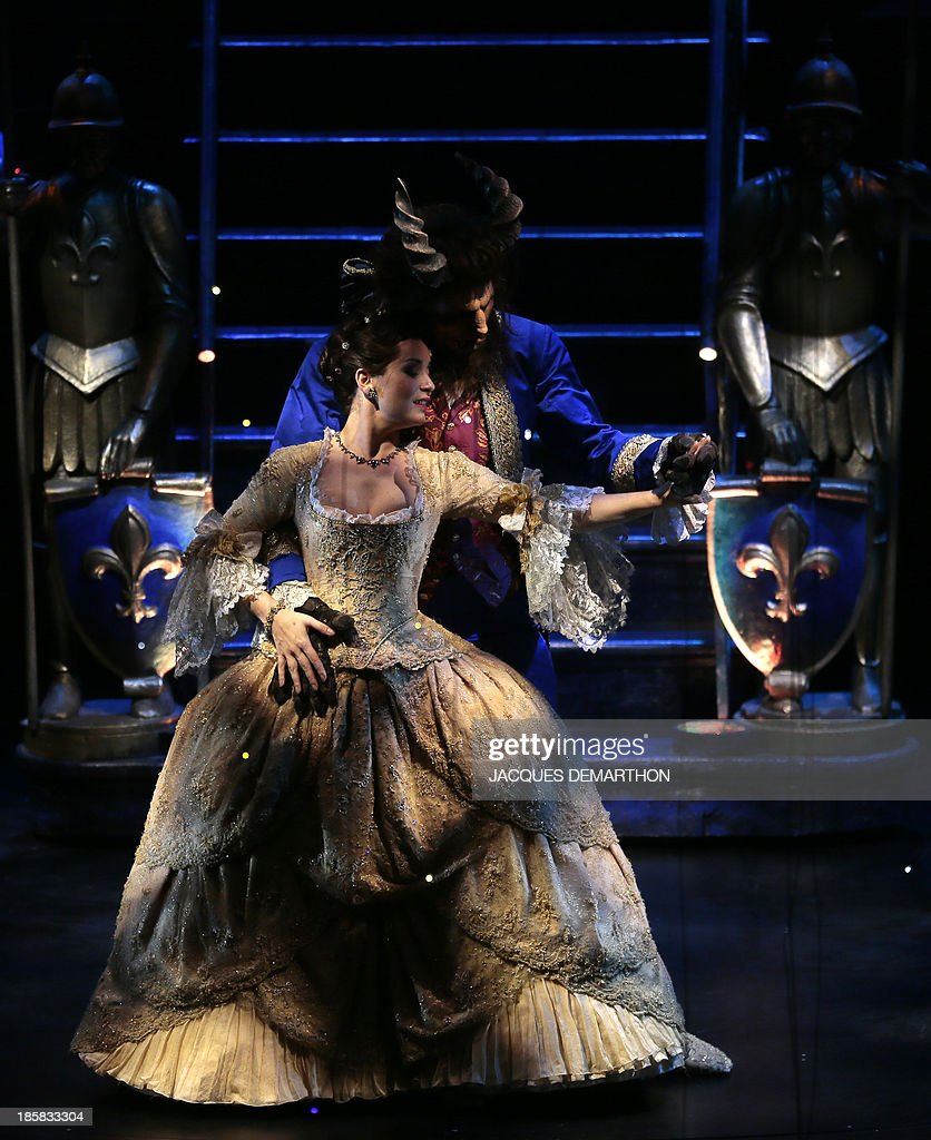 Manon Taris and Yoni Amar respectively play 'Beauty' and 'Belle' during a dress rehearsal of 'the Beauty and the Beast The Broadway Musical' at the...