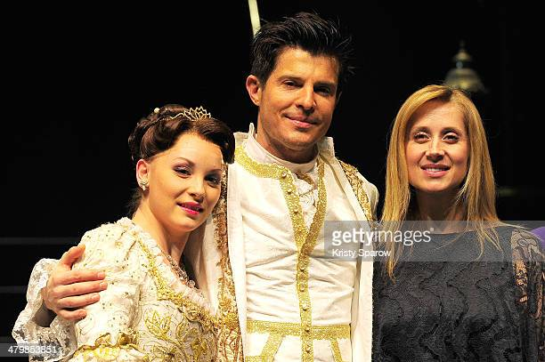 Manon Taris Vincent Niclo and Lara Fabian pose onstage during 'The Beauty And The Beast' premiere at Theatre Mogador on March 20 2014 in Paris France
