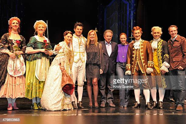 Manon Taris Vincent Niclo Lara Fabian Michel Drucker Natasha StPier and Stephane Rotenberg pose onstage during 'The Beauty And The Beast' premiere at...