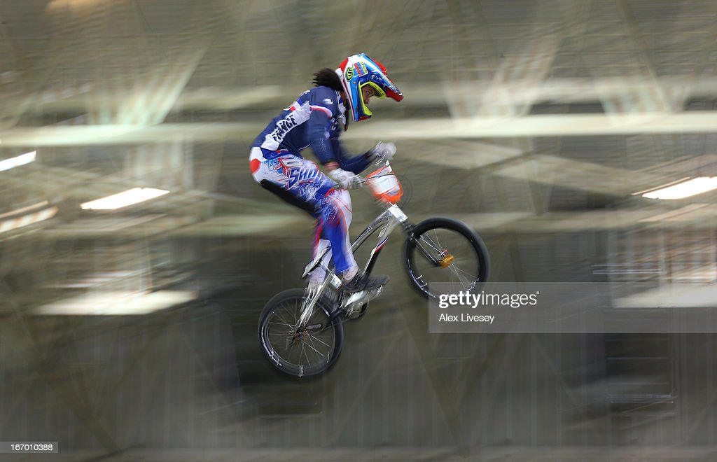 Manon Valentino of France takes the first jump during the Women's Elite Time trials Superfinal in the UCI BMX Supercross World Cup at National Cycling Centre on April 19, 2013 in Manchester, England.