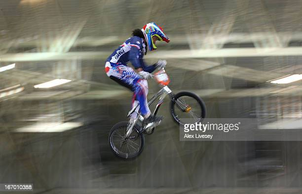 Manon Valentino of France takes the first jump during the Women's Elite Time trials Superfinal in the UCI BMX Supercross World Cup at National...
