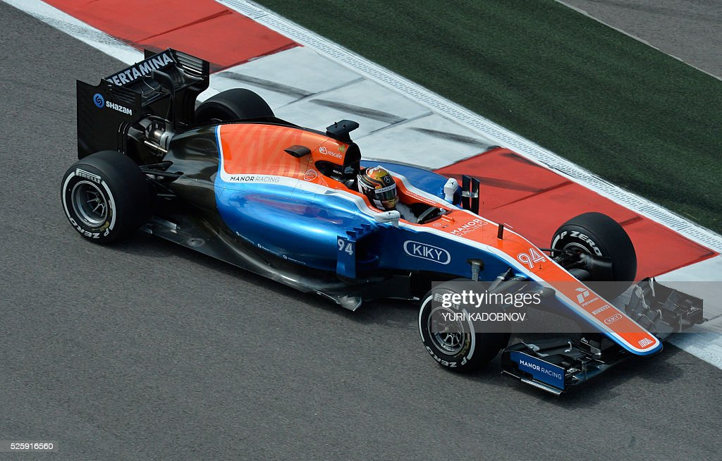Manor Racing MRT's German driver Pascal Wehrlein steers his car during the first practice session of the Formula One Russian Grand Prix at the Sochi Autodrom circuit on April 29, 2016. / AFP / YURI