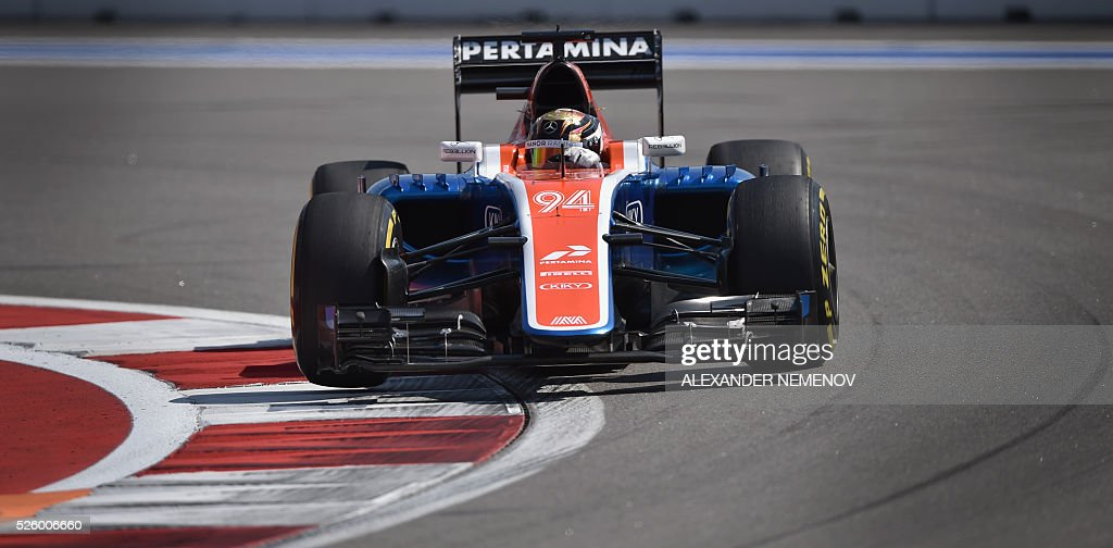 Manor Racing MRT's German driver Pascal Wehrlein steers his car during the second practice session of the Formula One Russian Grand Prix at the Sochi Autodrom circuit on April 29, 2016. / AFP / ALEXANDER