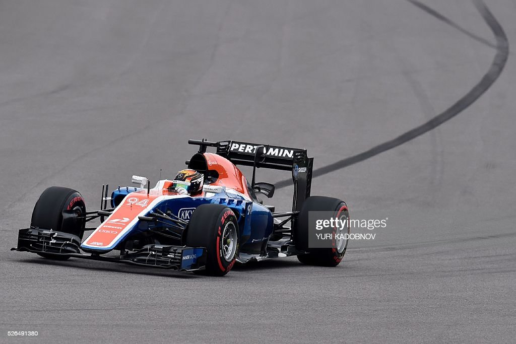Manor Racing MRT's German driver Pascal Wehrlein steers his car during the qualifying session of the Formula One Russian Grand Prix at the Sochi Autodrom circuit on April 30, 2016. / AFP / YURI