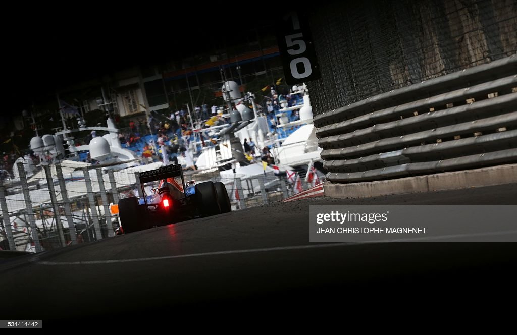 Manor Racing's driver drives during the first practice session at the Monaco street circuit, on May 26, 2016 in Monaco, three days ahead of the Monaco Formula 1 Grand Prix. / AFP / JEAN