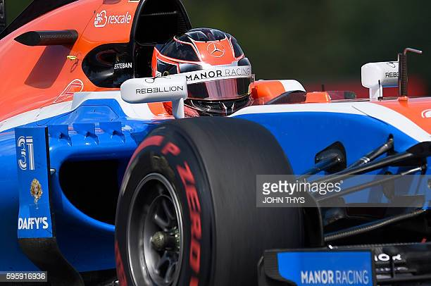 Manor Racing's French driver Esteban Ocon drives during the second practice session at the SpaFrancorchamps circuit in Spa on August 26 2016 ahead of...