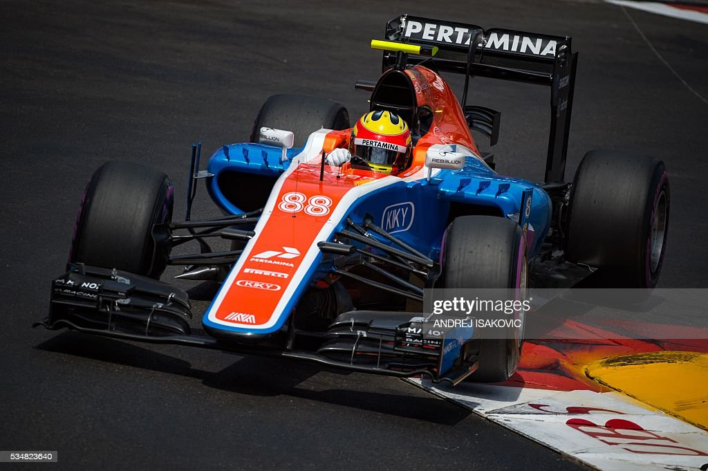 Manor Racing's Indonesian driver Rio Haryanto drives during the qualifying session at the at the Monaco street circuit, on May 28, 2016 in Monaco, one day ahead of the Monaco Formula 1 Grand Prix. / AFP / ANDREJ