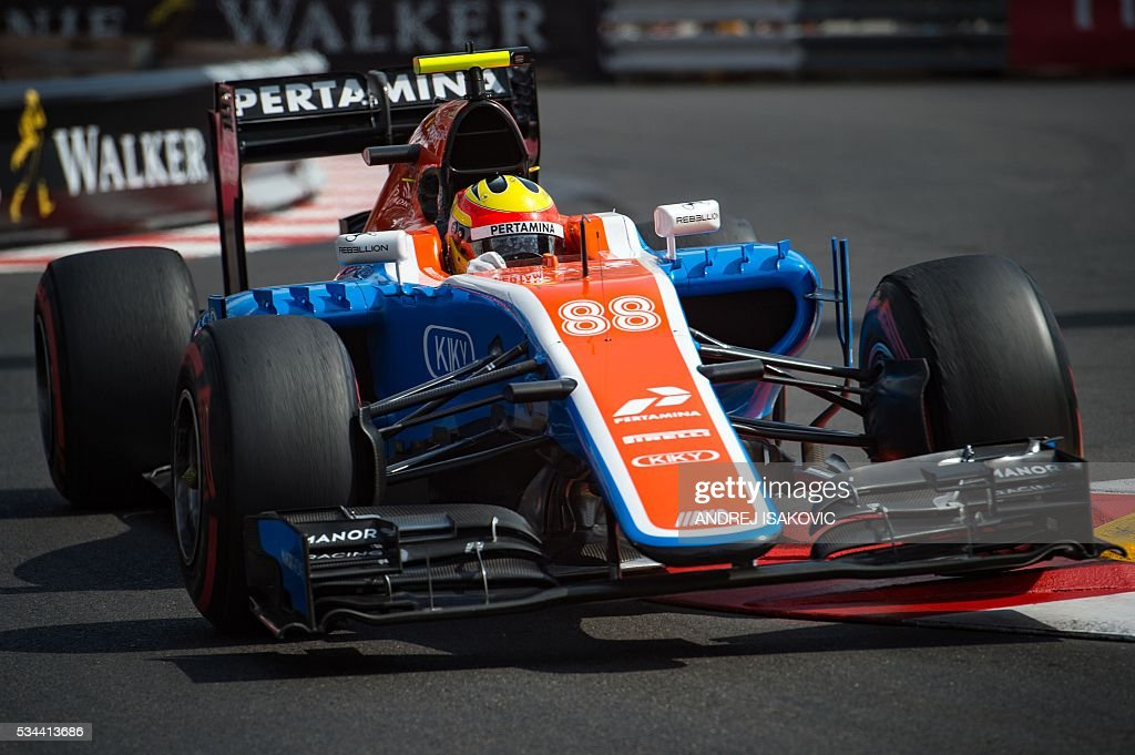 Manor Racing's Indonesian driver Rio Haryanto drives during the first practice session at the Monaco street circuit, on May 26, 2016 in Monaco, three days ahead of the Monaco Formula 1 Grand Prix. / AFP / ANDREJ