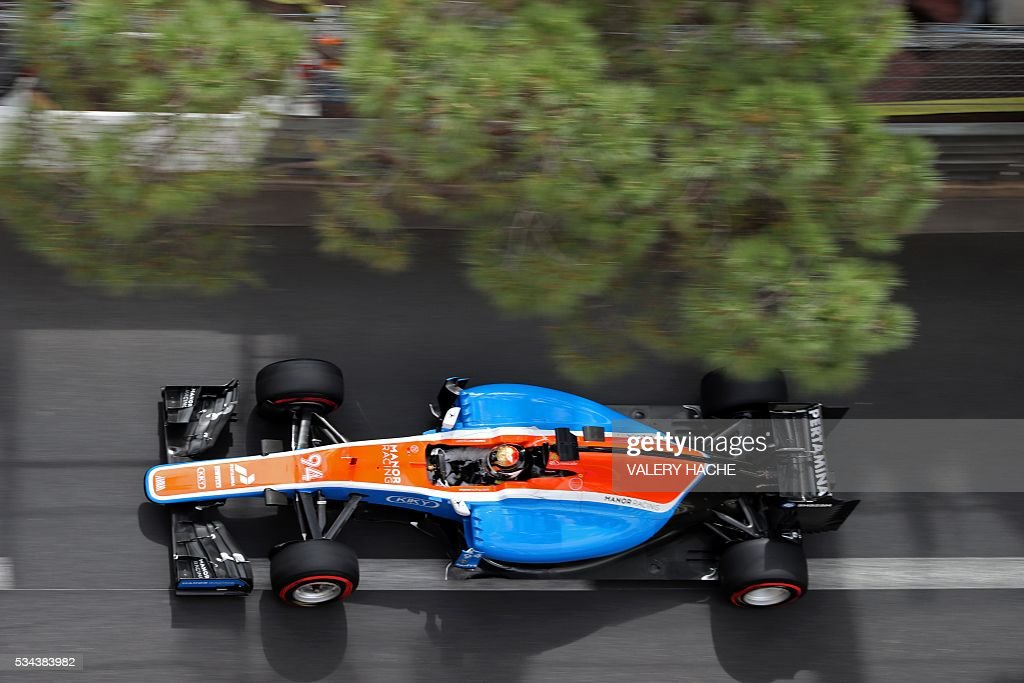 Manor's Racing's German driver Pascal Wehrlein drives during the first practice session at the Monaco street circuit, on May 26, 2016 in Monaco, three days ahead of the Monaco Formula 1 Grand Prix. / AFP / Valery HACHE