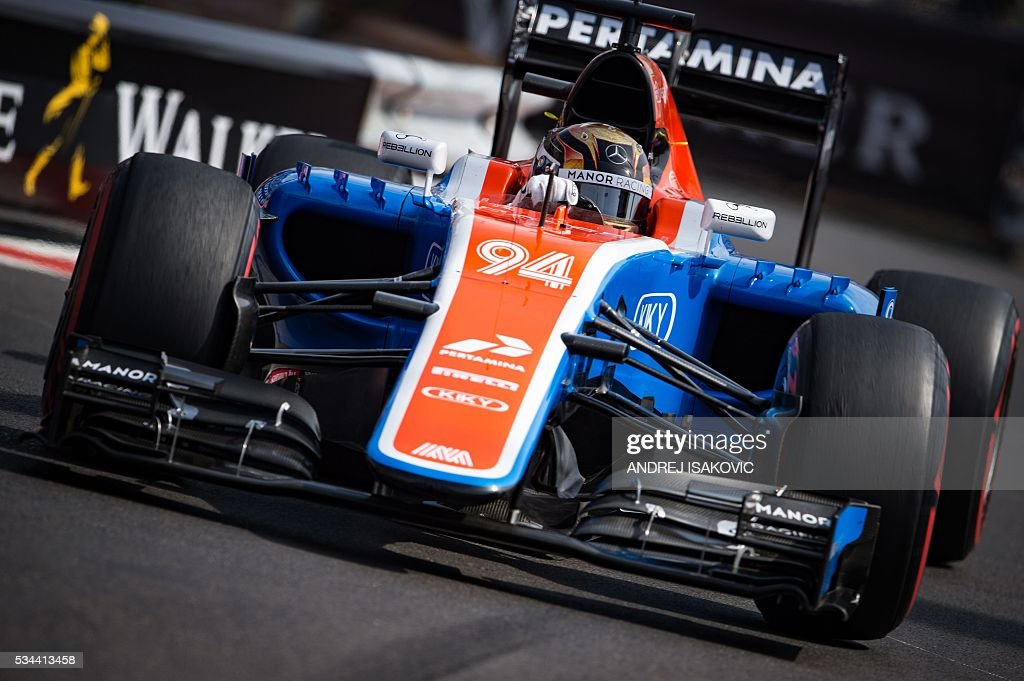Manor's Racing's German driver Pascal Wehrlein drives during the first practice session at the Monaco street circuit, on May 26, 2016 in Monaco, three days ahead of the Monaco Formula 1 Grand Prix. / AFP / ANDREJ