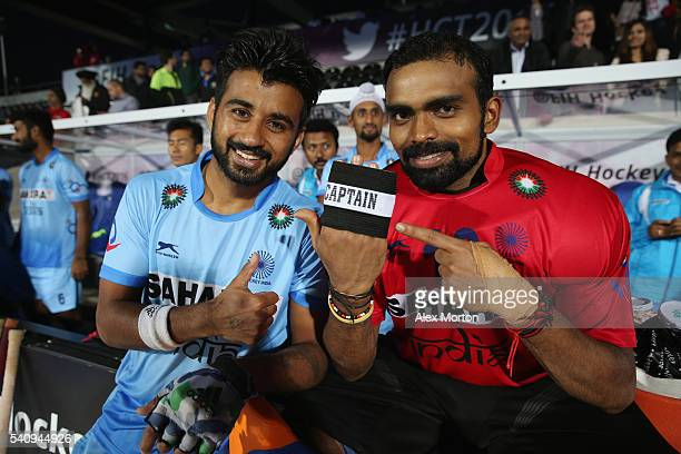 Manpreet Singh and Sreejesh Parattu of India during the FIH Mens Hero Hockey Champions Trophy 1st2nd place match between Australia and India at Queen...