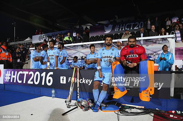 Manpreet Singh and Sreejesh Parattu of India wait for the Indian appeal to be heard during the FIH Mens Hero Hockey Champions Trophy 1st2nd place...