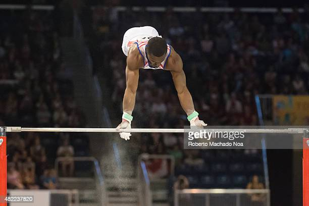 COLISEUM TORONTO ONTARIO CANADA Manrique Larduet Cuban gymnast in competing in Horizontal Bar during the gymnastic artistic of the Toronto Pan...