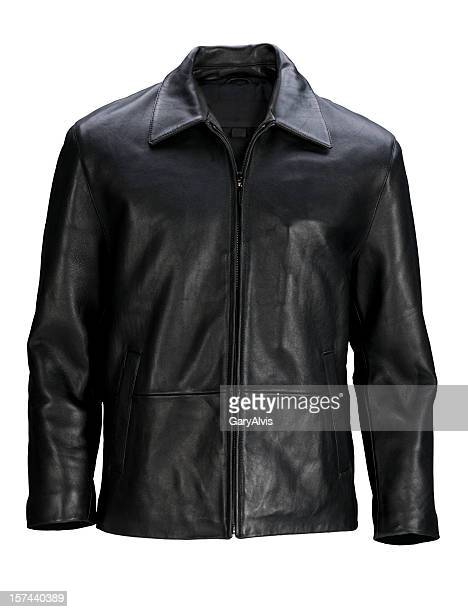 Man's blank black leather jacket front-isolated on white w/clipping path