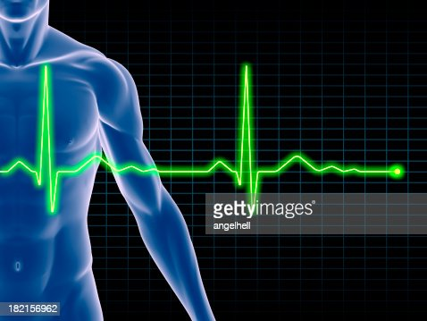 Man's body with an electrocardiogram superimposed
