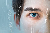 man's eye and technological concept, smart contact lens