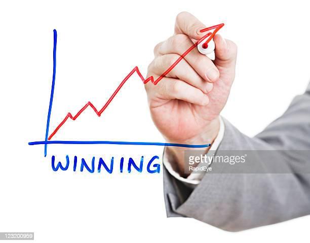 Man's hand draws upward graph on perspex board