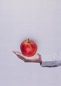 Mans hand holding an apple