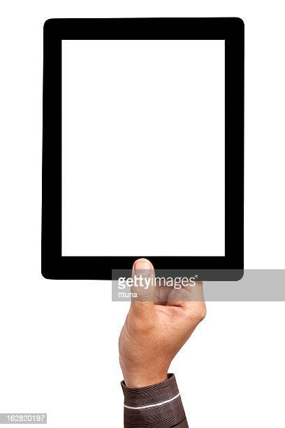 Mans hand holding blank tablet on the air