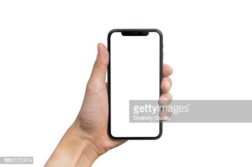 Man's hand shows mobile smartphone with white screen in vertical position isolated on white background : Foto de stock